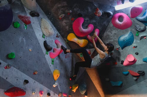 Side view of young determined ethnic female athlete in sportswear practicing indoor climbing on difficult steep wall with colorful grips in bouldering club