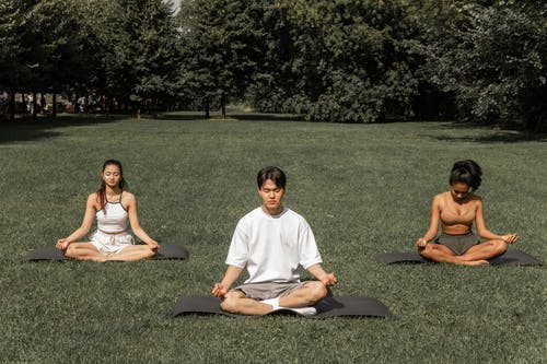 Full length of peaceful people in sportswear sitting in Padmasana with closed eyes and meditating in summer garden