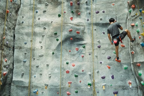 Back view of anonymous climber with special equipment in sportswear climbing on climbing wall during training in gym