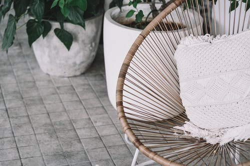 White Wicker Chair With White Textile