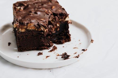 Chocolate Brownie on White Ceramic Plate