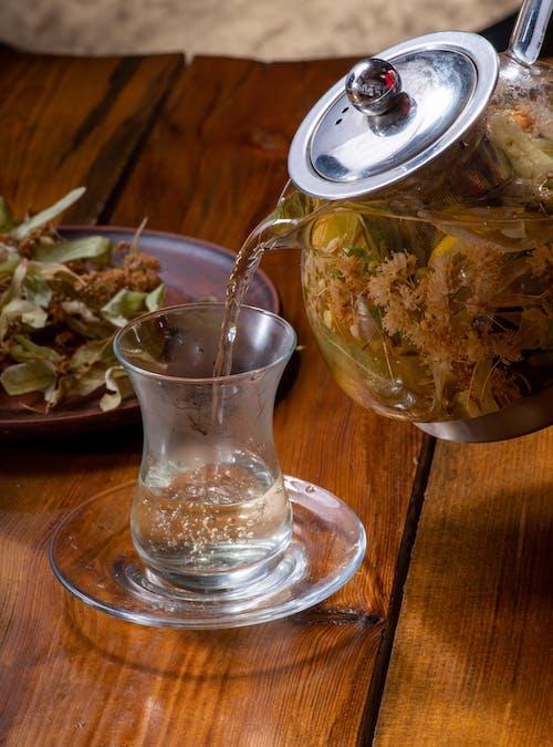 Close-Up Photo of a Tea Poured into an Armudu Glass
