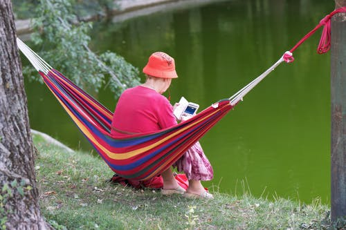 Free stock photo of elderly, hammock, lake, person