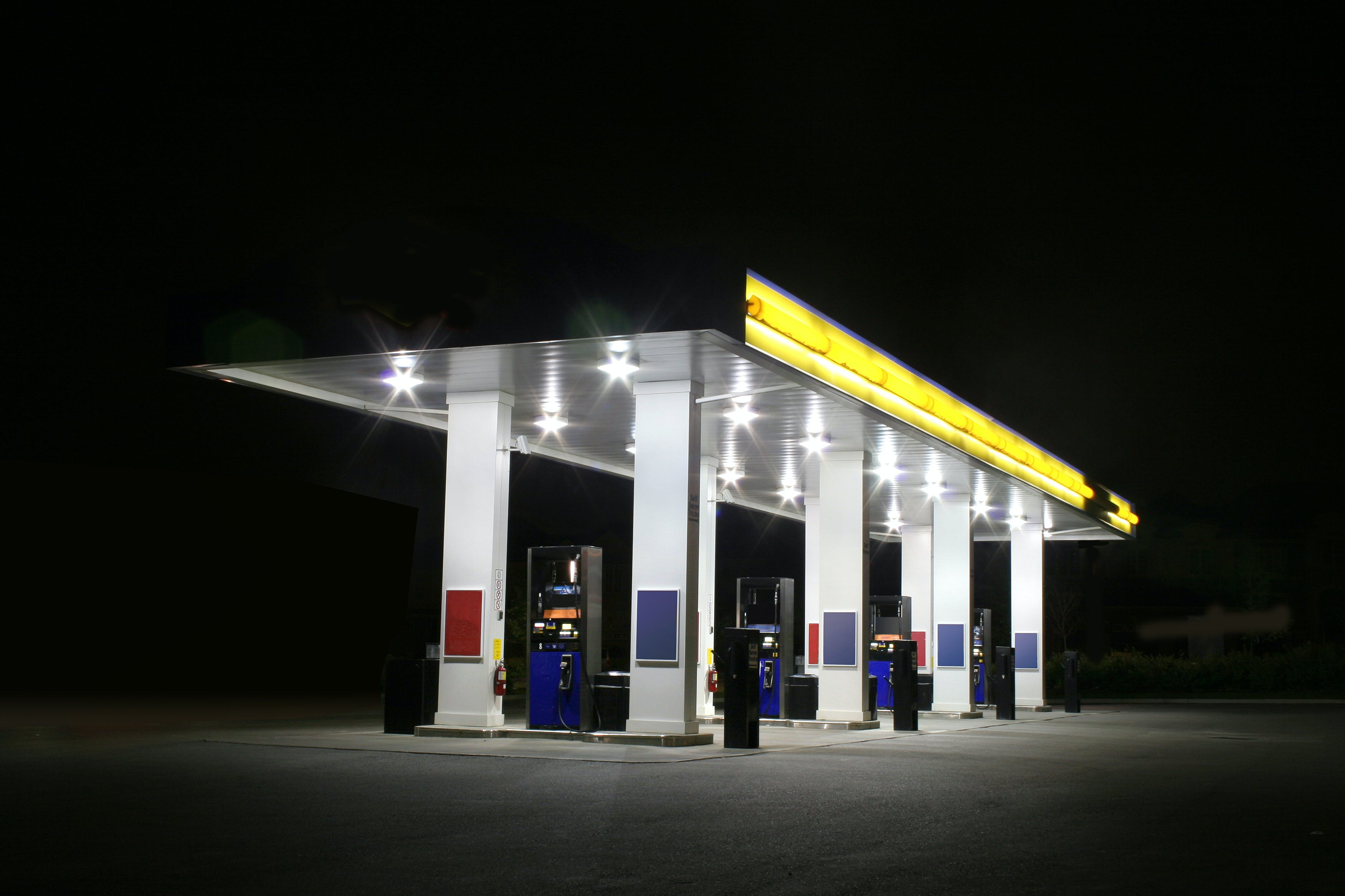Free stock photo of gas station, night