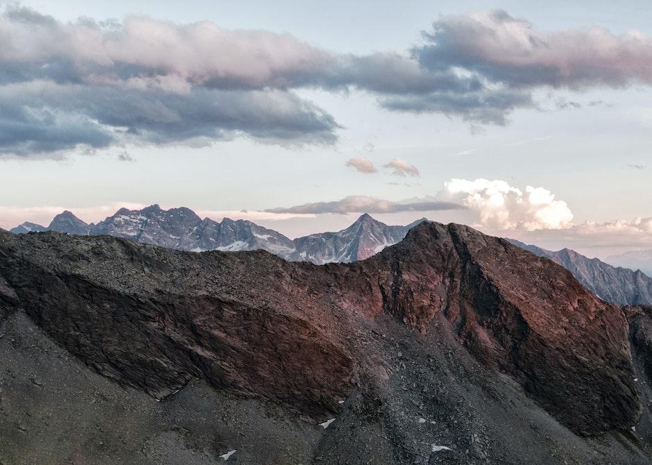 alpine, alps, clouds