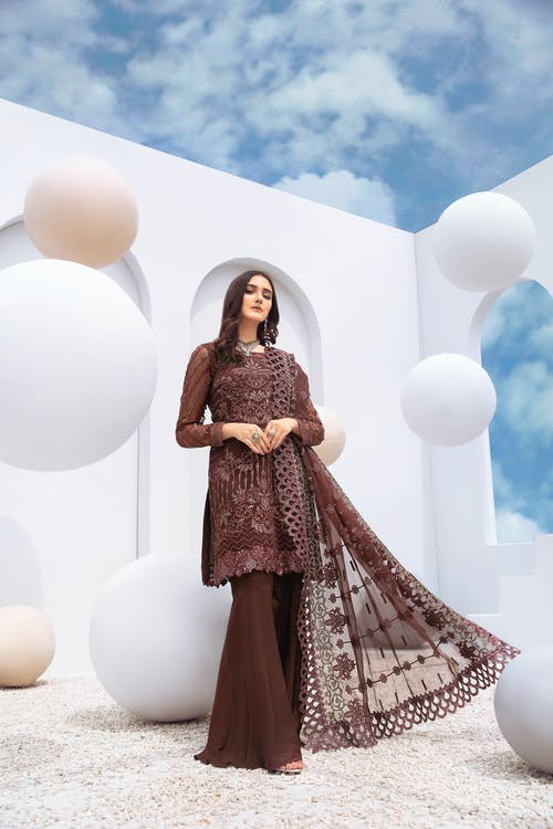 A Beautiful Woman in Brown Dress