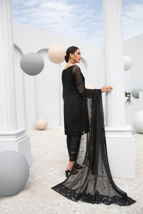 A Beautiful Woman in Black Dress