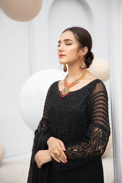 A Beautiful Woman in Black Lace Dress