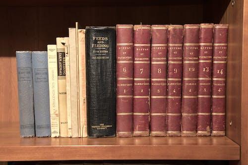 Close-Up View of Hardbound Books on Wooden Shelf