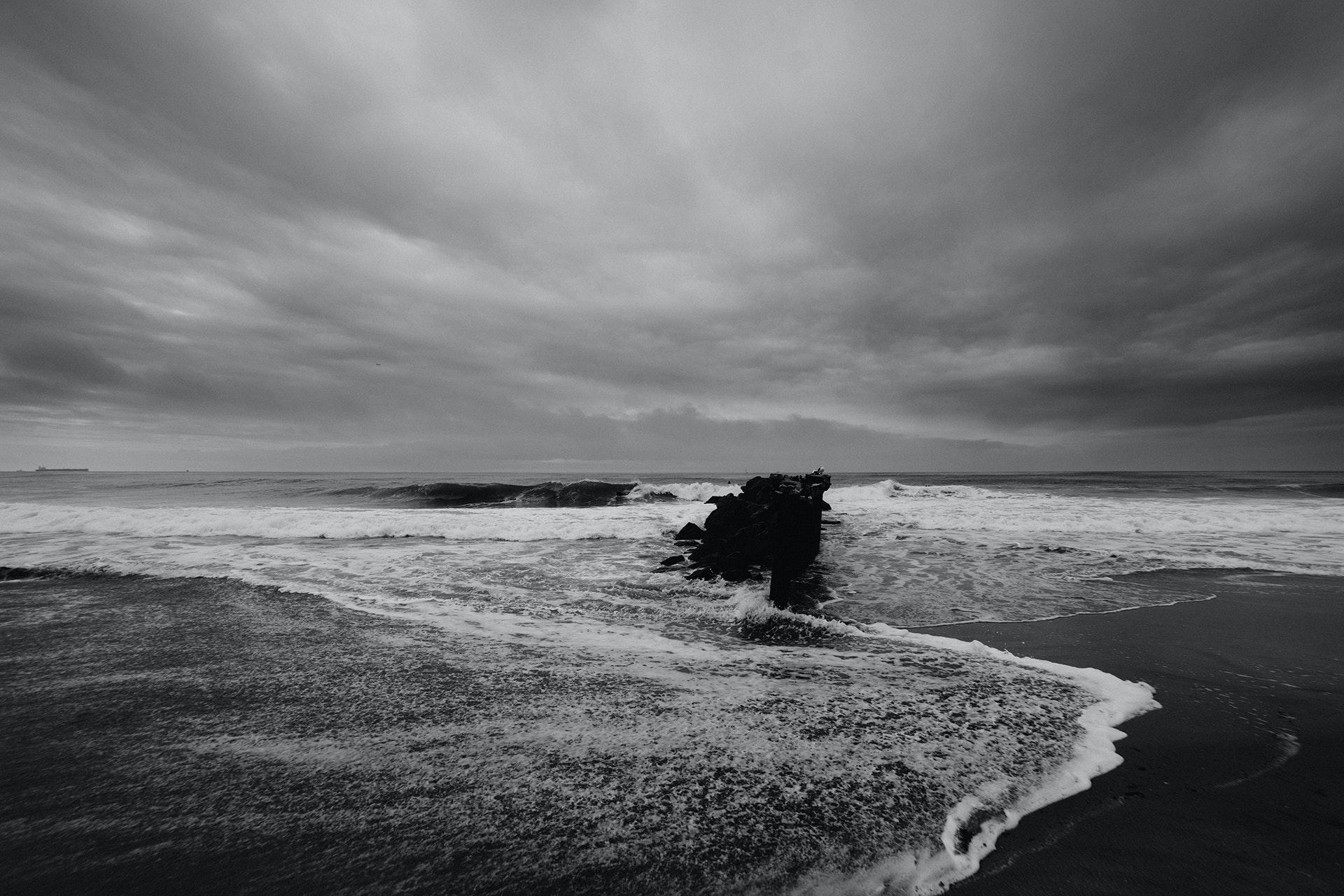 Gray scale photography of seashore · free stock photo