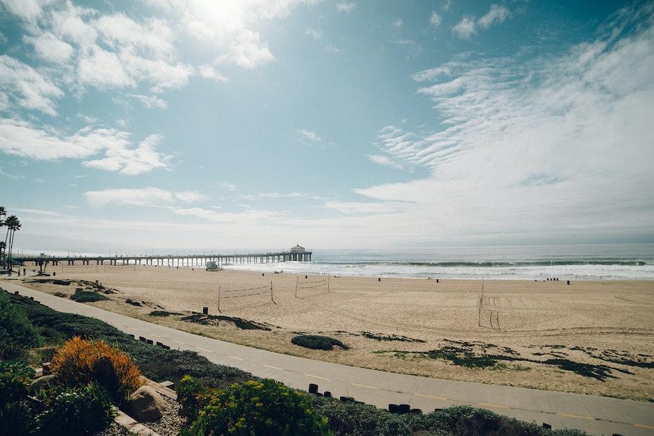 beach, landing stage, sea