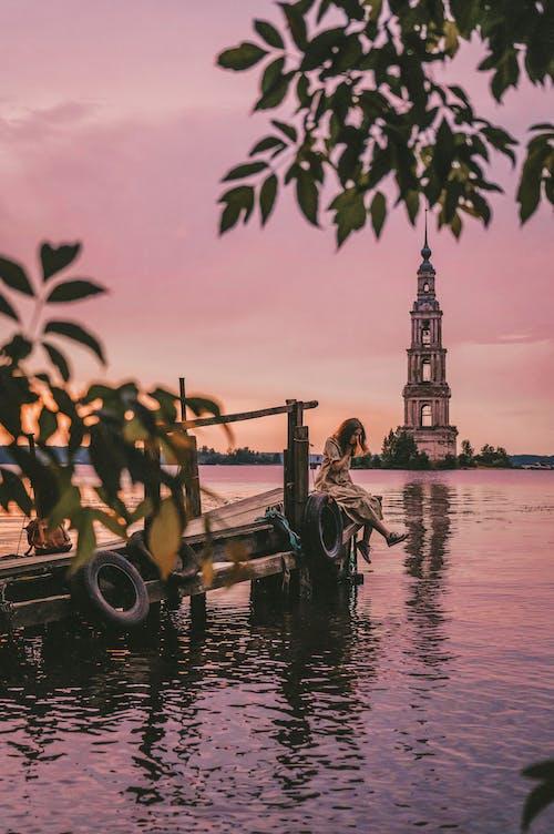 Ingyenes stockfotó arany naplemente, este, folyó, gyönyörű naplemente témában