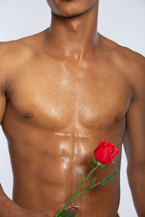Topless Man With Red Rose on His Chest