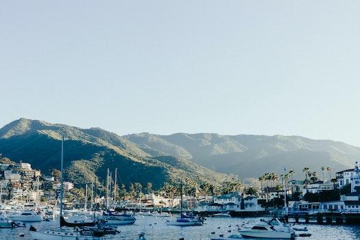 Free stock photo of sea, mountains, bay, boats