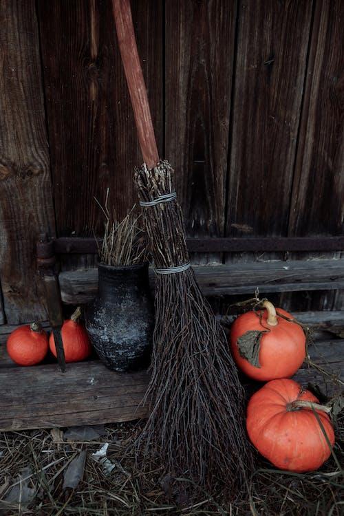 Stick Broom and Small Pumpkins