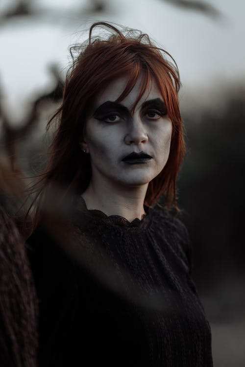 Portrait of a Woman in Witch Makeup