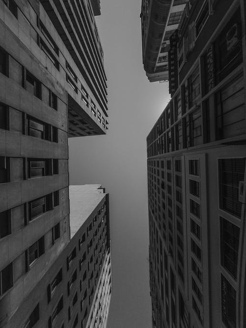 From below of black and white contemporary multistory buildings with geometric windows located against cloudless sky on sunny day