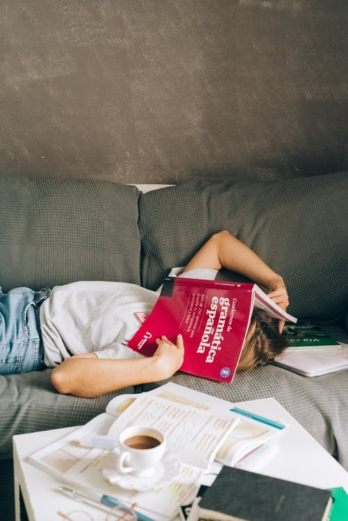 A Person with a Book on the Face Lying Down the Couch