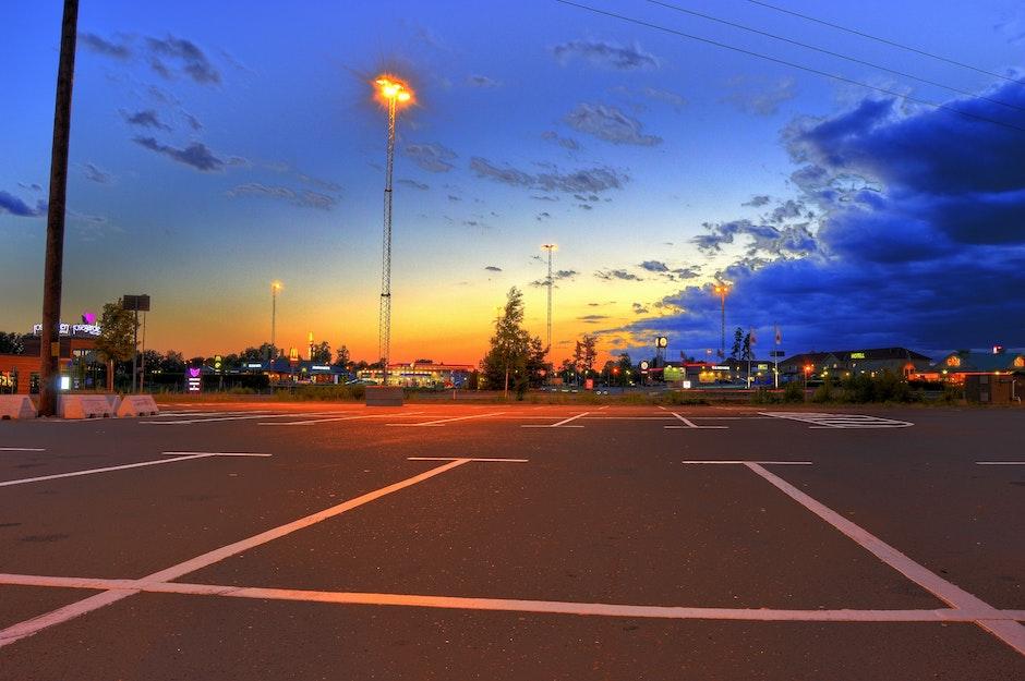 blue, evening, fast food restaurants