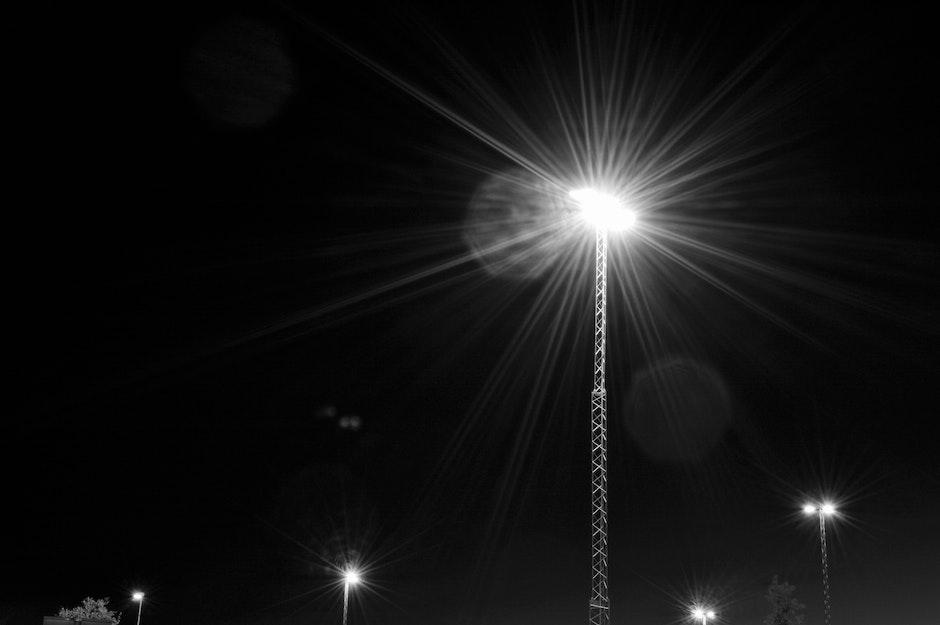evening, lights, monochrome