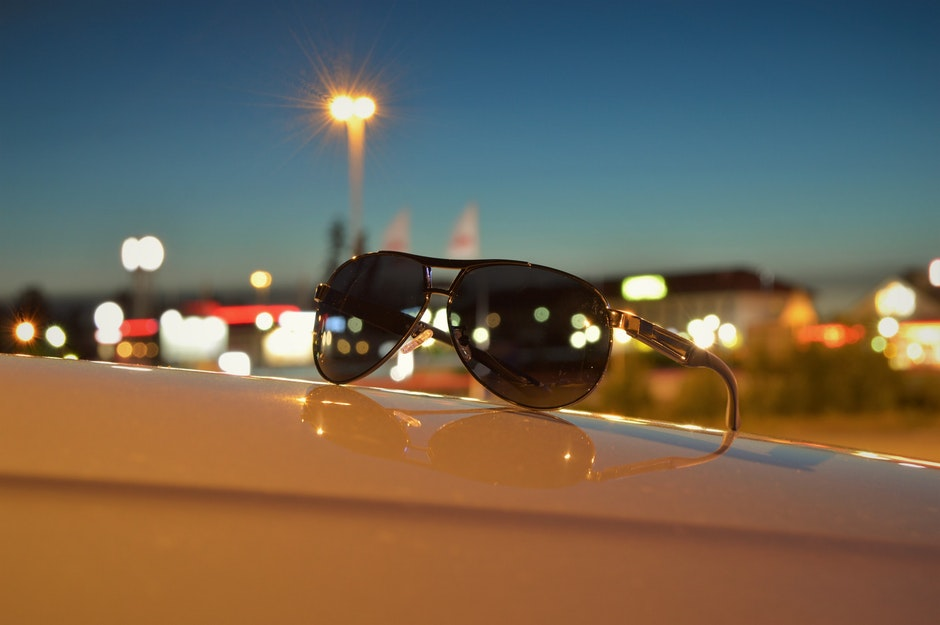 blue, car, evening