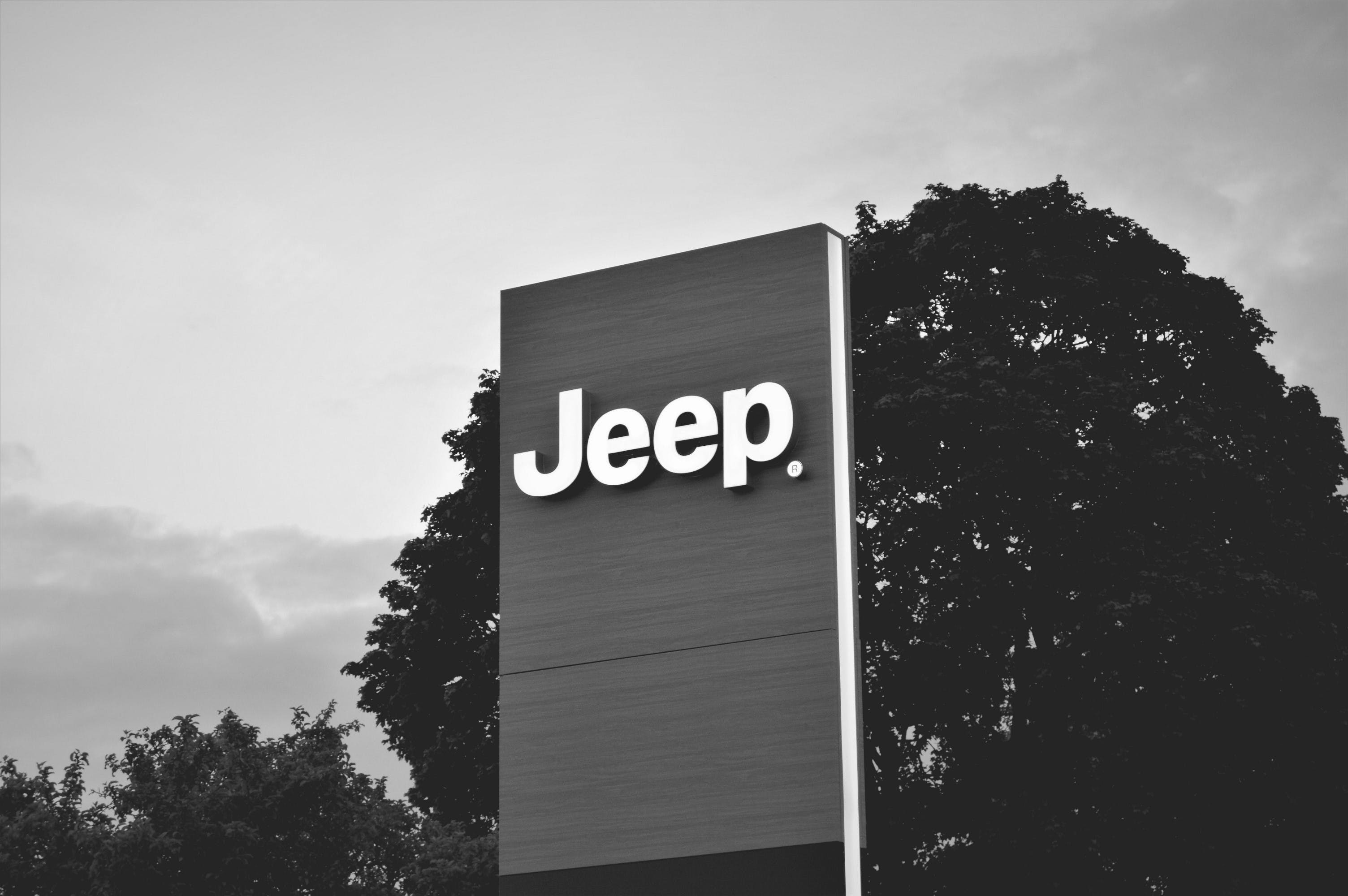 Free stock photo of black and white, clouds, dark, jeep