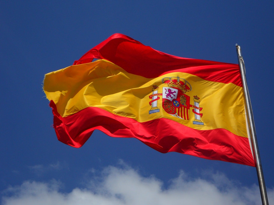 Spain Flag in Pole