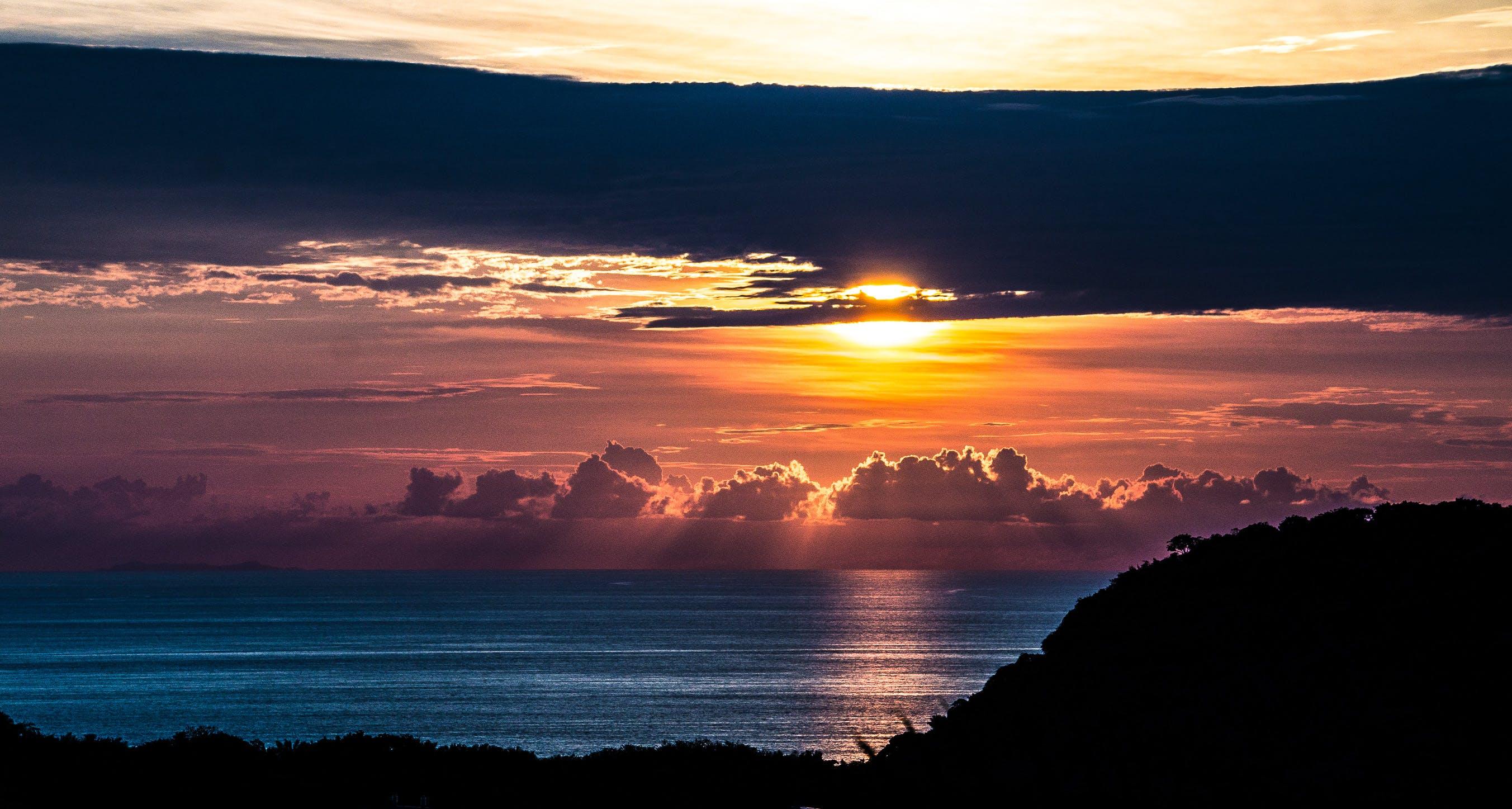 amazing sunset, beach, clouds