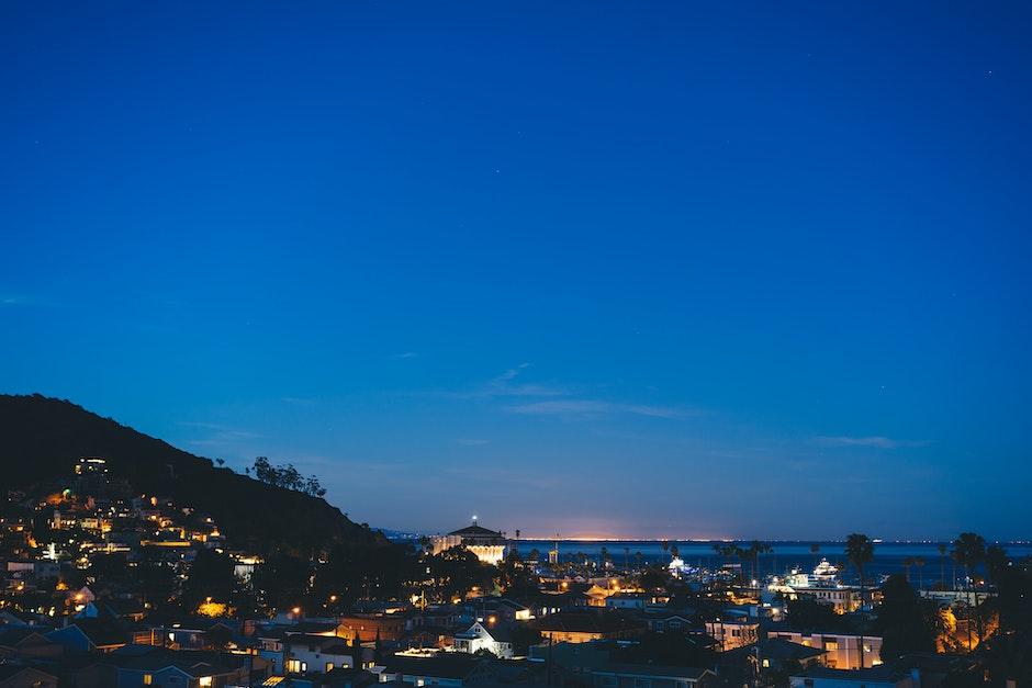 houses, lights, night