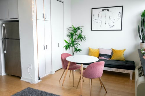 Modern living room interior with furniture in flat
