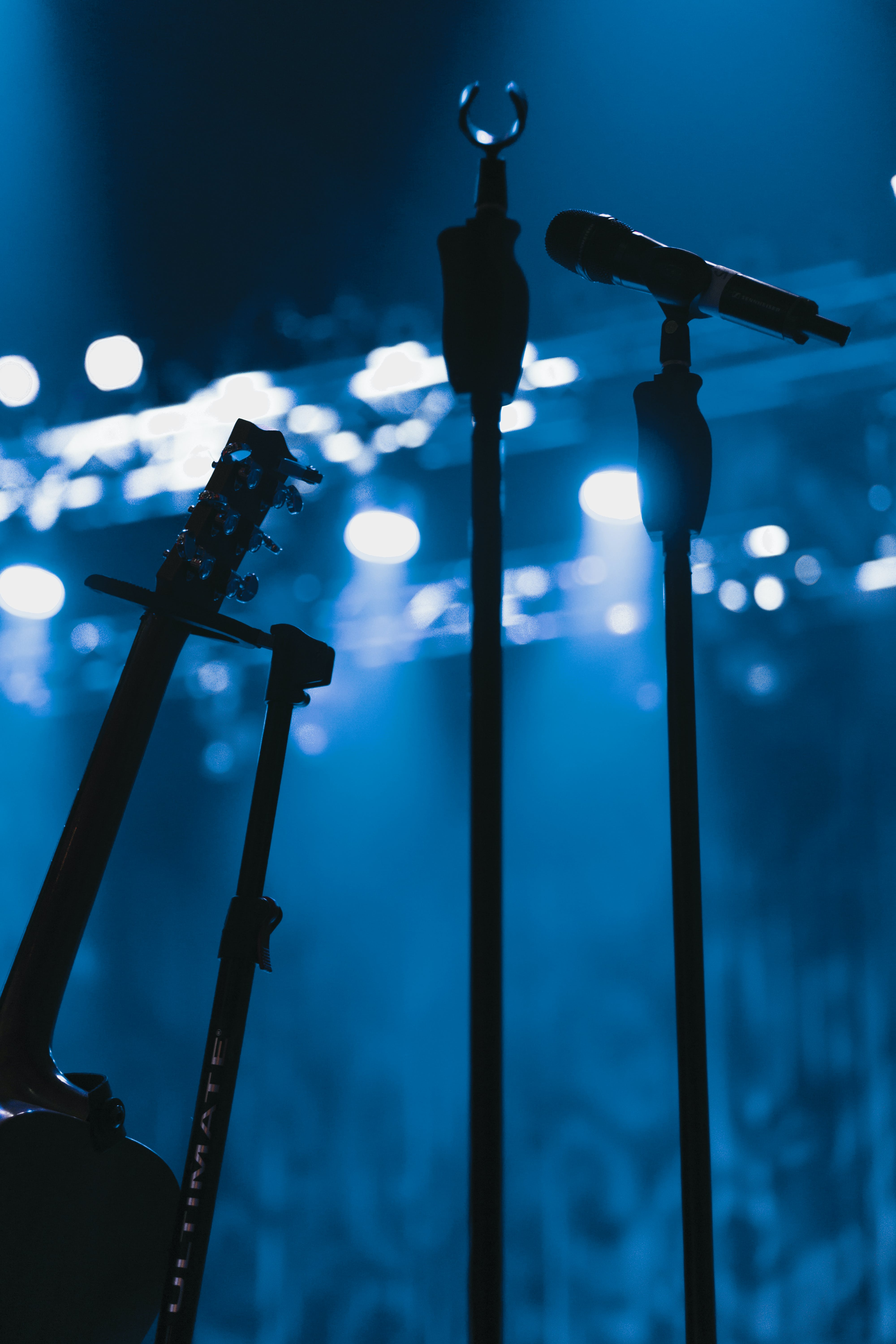 Free stock photo of acoustic guitar, blue, guitar, microphone