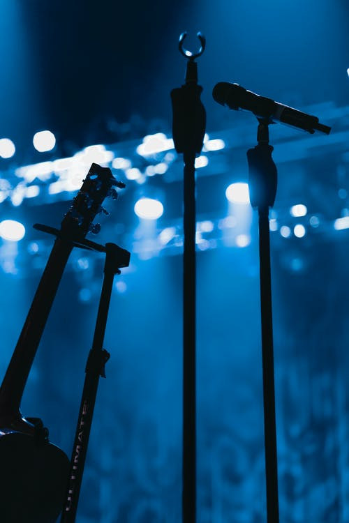 Free stock photo of blue, guitar, microphone, microphone stand