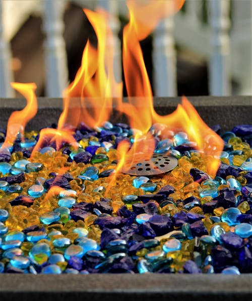 Close-Up Shot Of Fire Pit