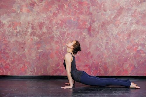 Side view full body of barefoot female athlete wearing sportswear performing High Cobra asana while doing yoga