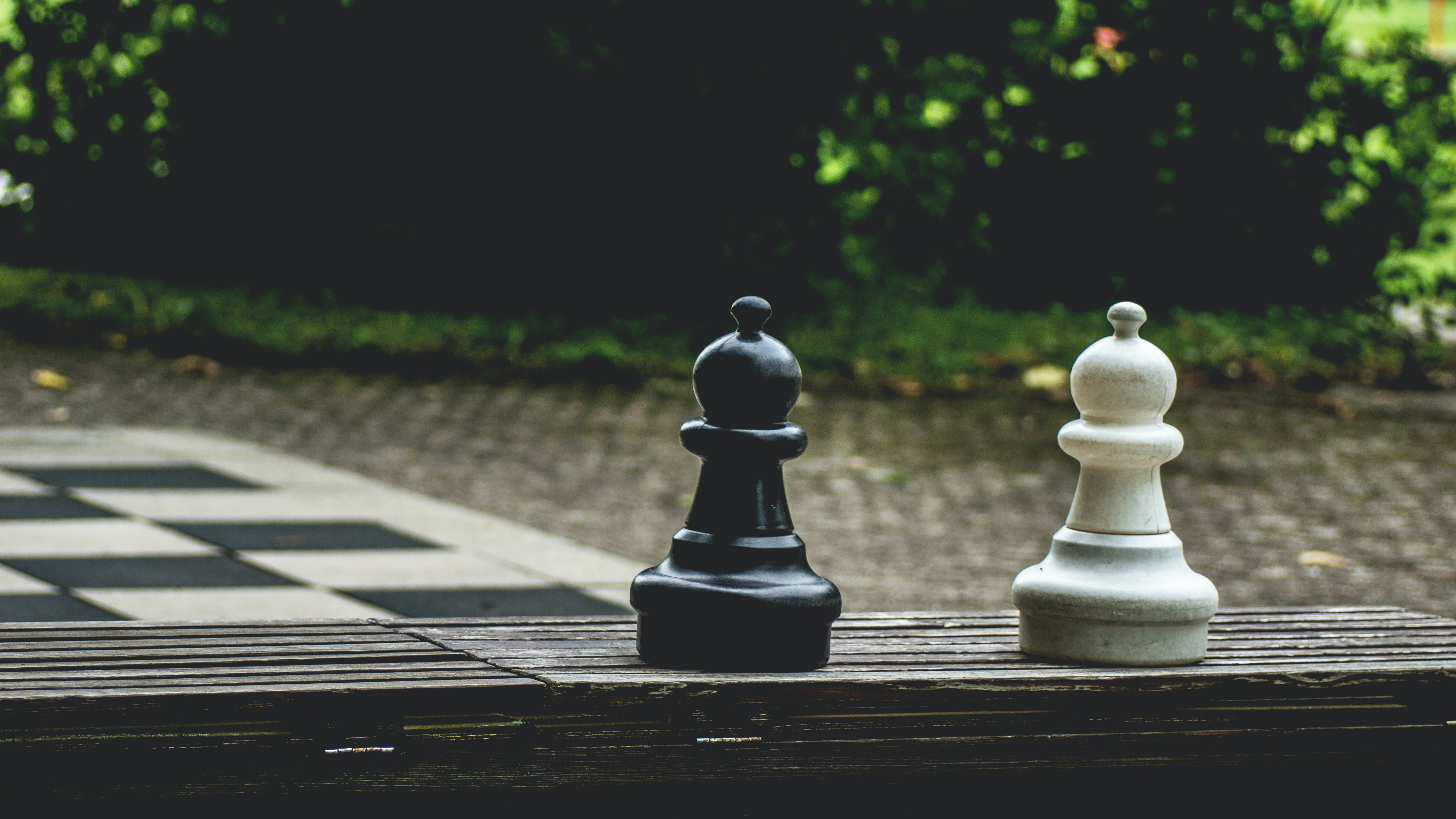 Two Black and White Poon Chess on Brown Surface