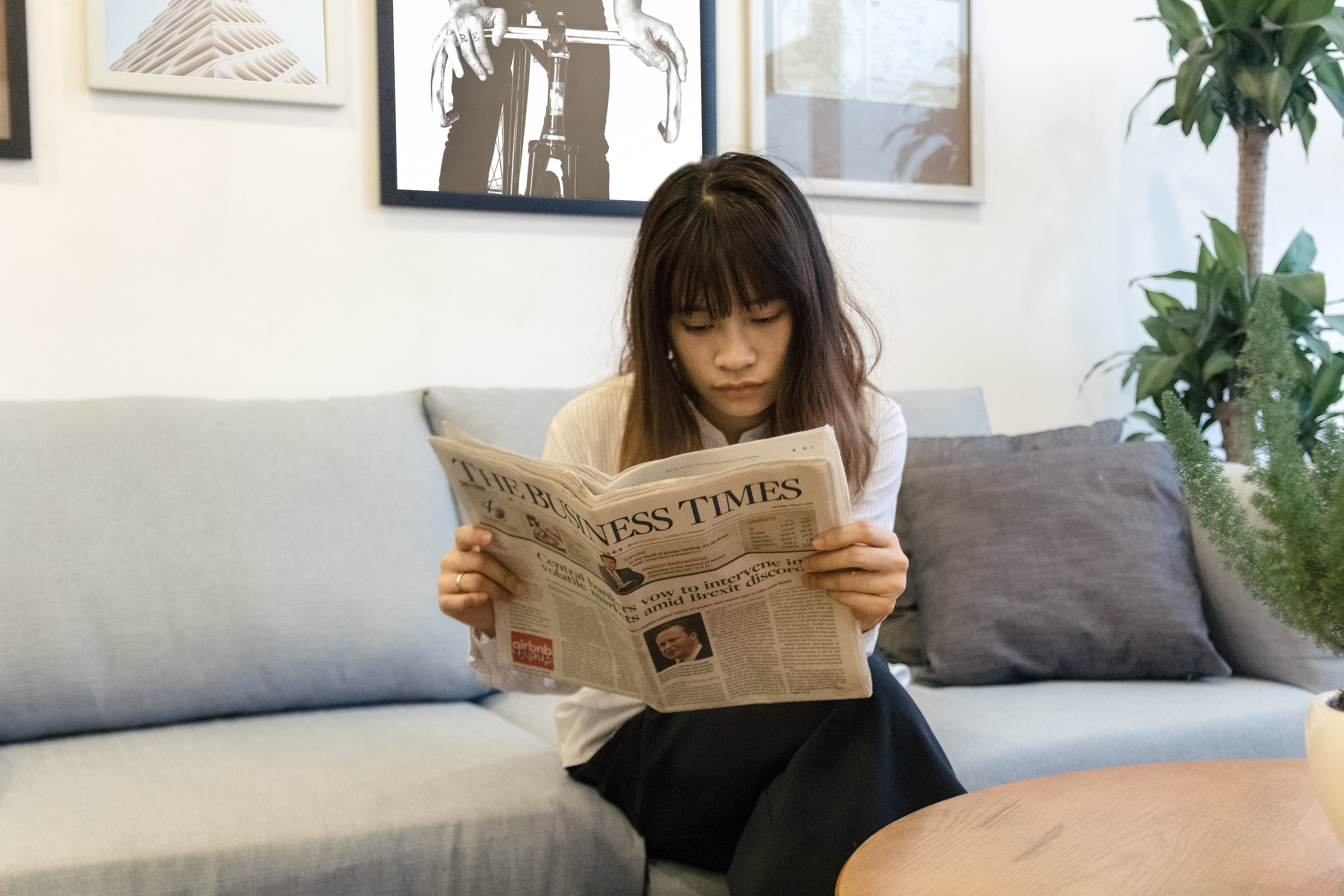 Asian, business paper, business woman