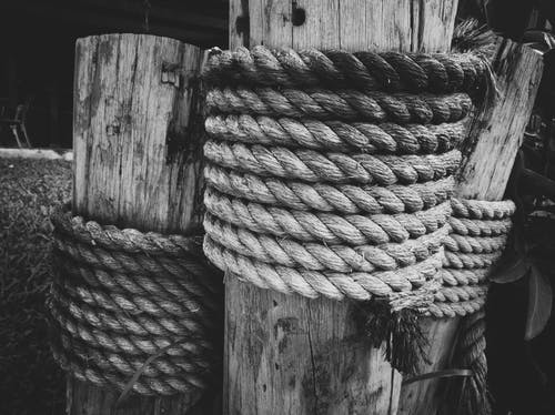 Free stock photo of black and white, focus, monochrome, rope