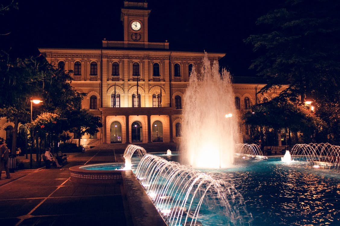 Outdoor Water Fountain at Nighttime