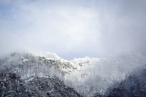 Free stock photo of foggy mountain, landscape, sky, snow