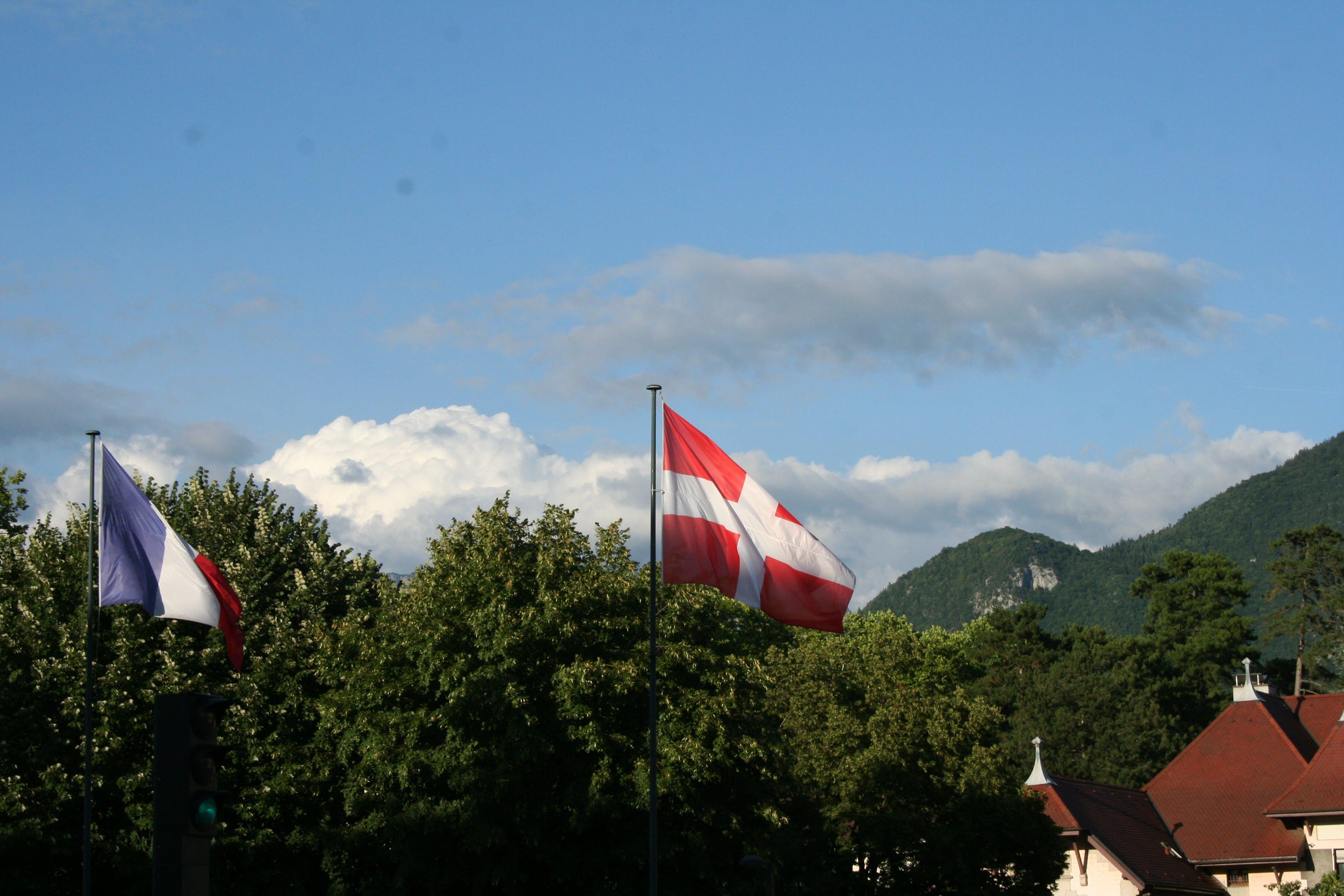 Switzerland Flag on Pole
