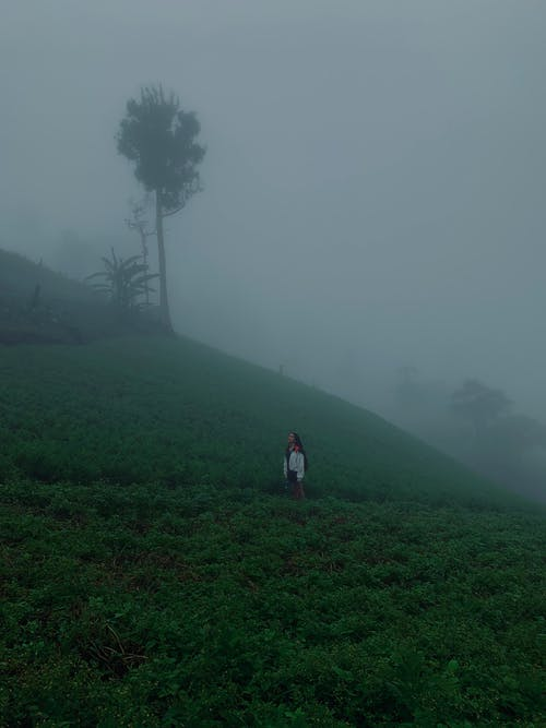 Unrecognizable tourist standing on grassy hill against misty sky