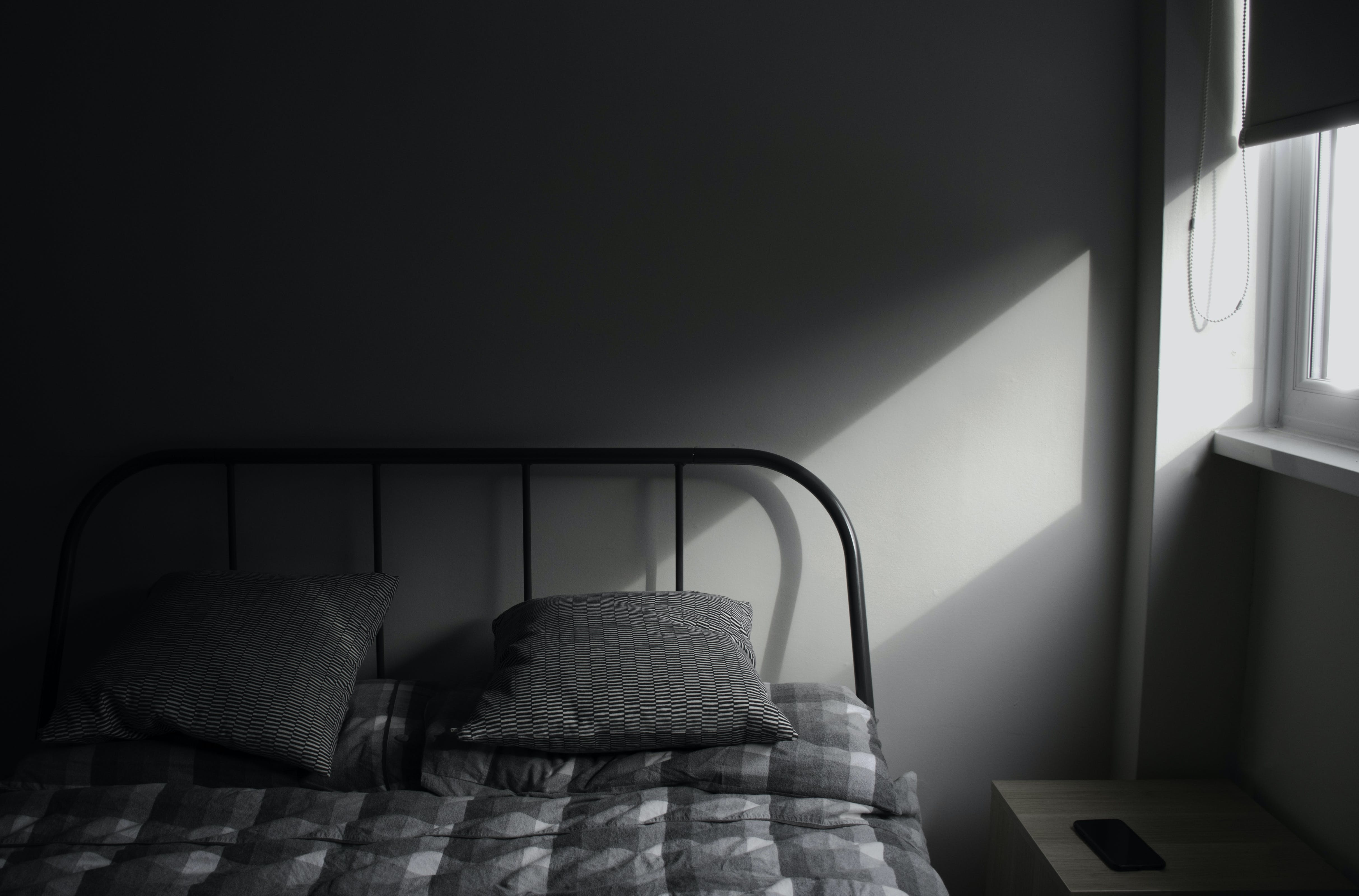 Free stock photo of bed, bedroom, blind, grey