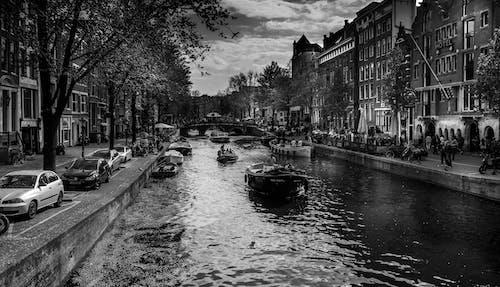 Imagine de stoc gratuită din alb-negru, Amsterdam, barcă, pod