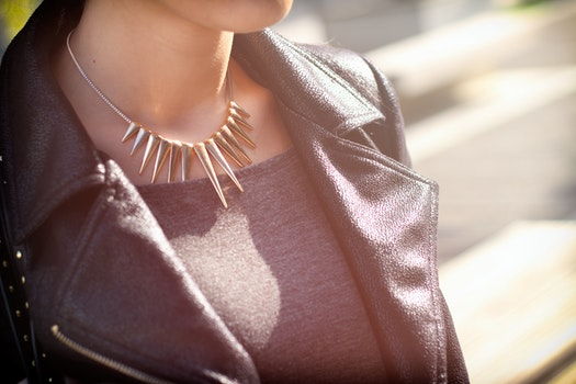 Free stock photo of woman, neck, close up, black jacket