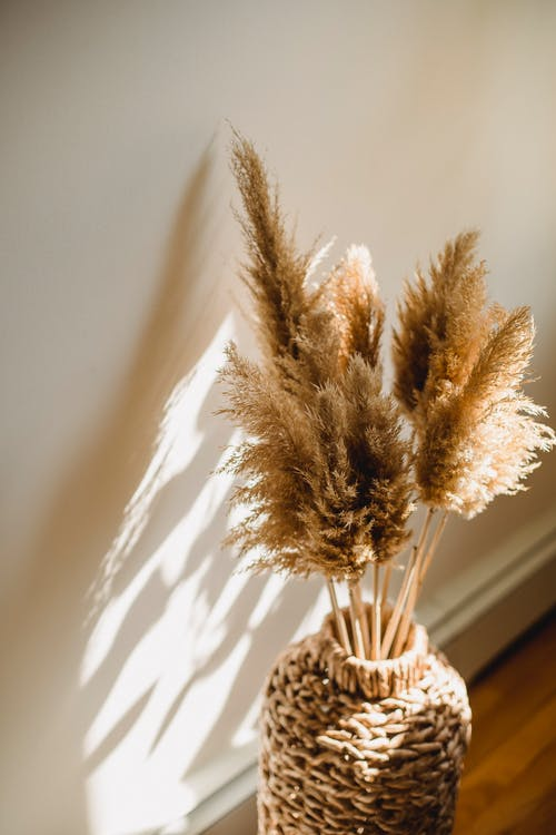 High angle of wicker vase with dried brown plants on floor in room