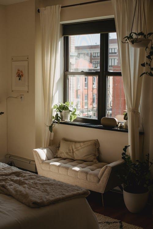 Part of cozy bedroom in apartment