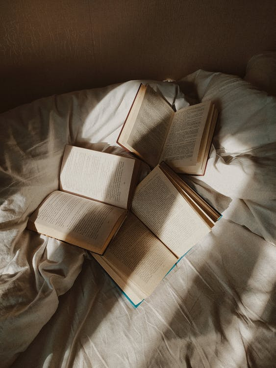 From above opened paper books placed on comfortable bed with white disheveled sheets in daylight