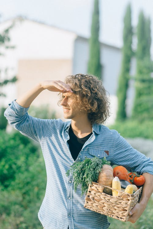 Man Carrying A Basket Of Vegetables