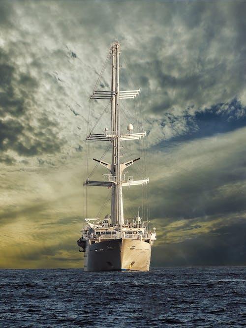 White Galleon Ship on Sea