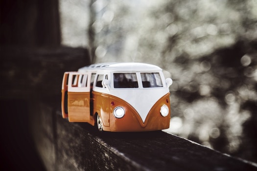 White Orange Van Scale Model
